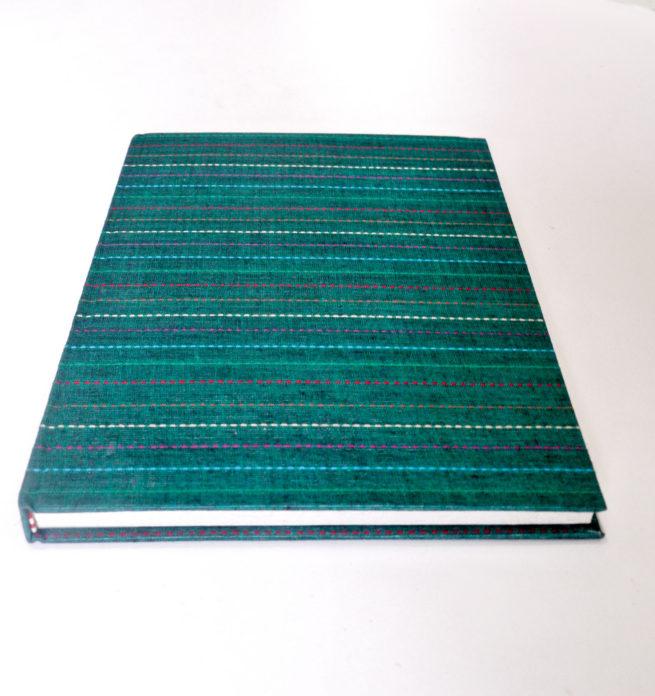 carnet de voyage couverture tissus kantha vert - Lokanga