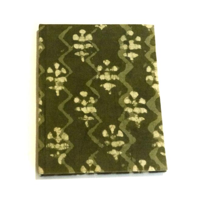 Carnet de note Batik vert - Vue aplat -Lokanga